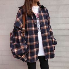 Buy Moon City Snap Button Flannel Shirt at YesStyl Korean Outfits, Mode Outfits, Retro Outfits, Grunge Outfits, Cute Casual Outfits, Vintage Outfits, Fashion Outfits, Casual Pants, Womens Fashion