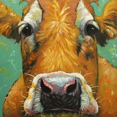 Cow painting animals 613  36x36 inch original portrait oil painting by Roz. $465.00, via Etsy.