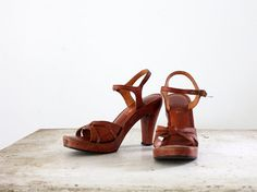 1970s Leather Sandals // Size 85 // High Heel by 86Vintage86, $128.00