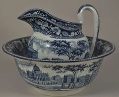 Antique Rogers Blue Historical Staffordshire Boston State House Pitcher & Basin