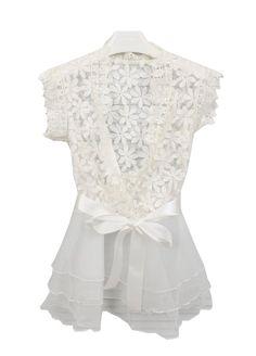 Apricot V Neck Contrast Organza Lace Dress - Sheinside.com