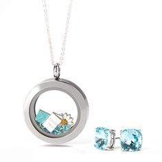 """She's true blue and right there for you! Tell the special teacher in your life """"thank you"""" with a complete Origami Owl Living Locket look featuring our beautiful The Clara Stud Earrings in Light Turquoise Crystal. Add the Charms, Dangles and In{script}ions to further customize this look and capture her story."""