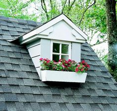 """""""Impatiens 'Dazzler Red' and 'Dazzler Pink' offer a pretty mix of high-up color in this dormer window box."""""""