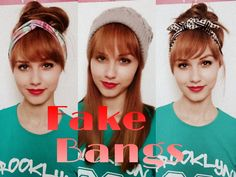 ♥ Don't forget to L I K E & FAVORITE to try this hairstyle - fake bangs with hair bun trick for school! ♥ Transform your style with fake bangs. Fake Bangs, Curly Hair With Bangs, Braids For Long Hair, Medium Long Hair, Medium Hair Styles, Curly Hair Styles, Work Hairstyles, Hairstyles With Bangs, Knot Hairstyles