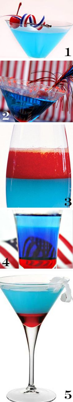 5 different patriotic fourth of july cocktails drinks alcoholic beverage recipies for your BBQ party or picnic!