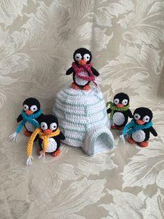 Crocheted penguins w/their very own igloo!!! Tooo cute!!!