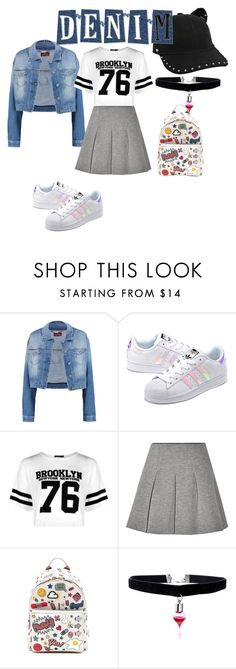 """Denim jacket"" by busra-ciftci ❤ liked on Polyvore featuring 7 For All Mankind, adidas Originals, Boohoo, T By Alexander Wang, Anya Hindmarch and Karl Lagerfeld"