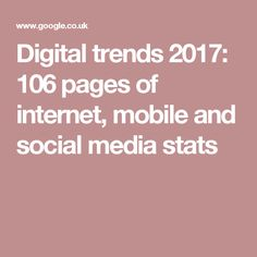 We Are Social has teamed up with Hootsuite for its annual Digital Trends 2017 report to give you the latest facts and stats about the world's web usage. World Web, Digital Trends, Internet, Social Media, Infographics, Infographic, Social Networks, Info Graphics, Social Media Tips