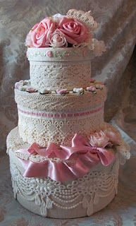 So pretty. Shabby chic hat boxes