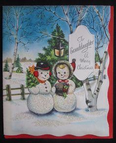 Vintage Christmas Greeting Card Mr Mrs Snowman w Hat & Muffs Glitter Mid Century