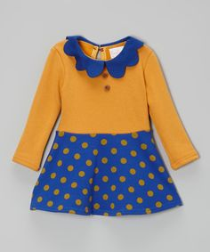 Love this Yellow & Blue Polka Dot A-Line Dress - Toddler & Girls by Blossom Couture on #zulily! #zulilyfinds