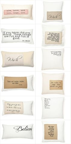 "INSPIRATION | PILLOWS :: French Laundry Home Pillows @ One Kings Lane :: sides range from 10""x20"" to 12""x24"" to 20""x20"" :: Ideas for homemade pillows. Love the patchwork idea with a cut of different fabric sewed w/ about a 1/2"" seam & the edge left frayed. A saying could be easily transfered onto it."