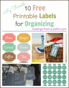10 Free Printable Labels for Organizing - #free #printables #organize - with Musingssahm.com