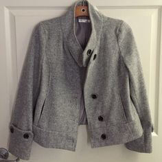 Beautiful Gray Jacket Super soft and in PERFECT condition. Freshly dry cleaned. 2 pockets in front. 4 buttons in front including one at the top near the neck. Buttons on sleeves as well. Absolutely beautiful coat just too small for me  Suvin Jackets & Coats Pea Coats