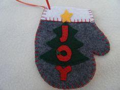 Christmas Tree Gray Felt Mitten Ornament/Gift by KraftyGrannysHome, $5.50