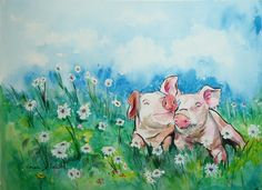Funny watercolor I recently completed.  Makes you kinda smile, doesn't it?..by Carole Jackson Powell