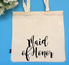 Maid of Honor tote Bridal Party Tote Bag by BeEverThine on Etsy