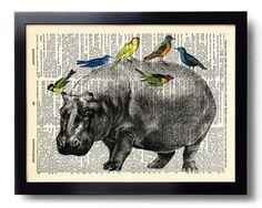 Hippo Bird Animal Art Print Vintage Book Print by PrintsVariete