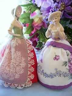 Pretty Doll Pincushion idea - can use up fabric and lace scraps or handkerchief.