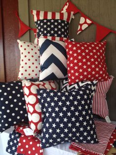 Sewing Pillows Patriotic pillow covers pick two Fourth Of July Decor, 4th Of July Decorations, 4th Of July Party, July 4th, Americana Decorations, Memorial Day Decorations, Patriotic Crafts, July Crafts, Independance Day