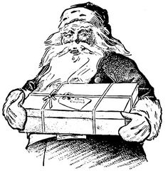 vintage christmas graphics in black and white | Vintage Christmas Clip Art – Santa with Gift