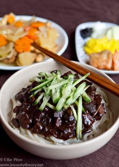 Jja-jang myun! Korean-Chinese fushion noodles with black bean sauce! Yum!!