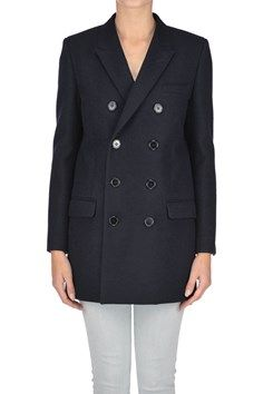 Saint Laurent - Double breasted wool and cashmere coat | Reebonz