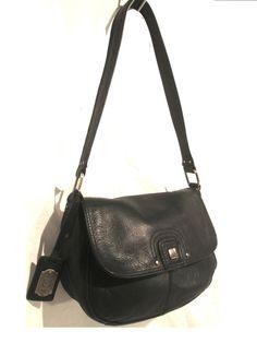 STONE MOUNTAIN genuine buttery soft Black Leather Half flap HOBO shoulder bag #AuthenticSTONEMOUNTAINluxurydesignerbag #Handbagpursecarryallbohobikersatcheltote