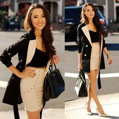Lookbook Store Trench, 2020 Ave Studded Skirt, Prada Bag, Edge Of Ember Necklace, Edge Of Ember Double Ring