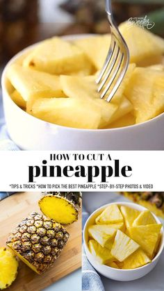 Learn How to Cut a Pineapple using this easy step-by-step tutorial with photos and video. This is our favorite fool-proof method for cutting a pineapple for snacks and parties with no mess. It's super easy and the best way to get the most goodness out of a pineapple. Fruit Recipes, Vegan Recipes, Cooking Recipes, Paleo Vegan, Turkey Recipes, Yummy Recipes, Cooking Tips, Food Design, Easy Snacks