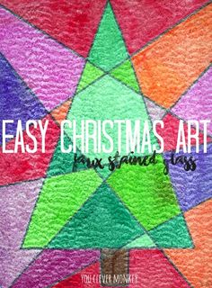 Easy Christmas Art - Faux Stained Glass To Make! This simple art activity is the perfect Christmas activity for children of mixed ages to try at home or in the classroom. You only need two things to get started | you clever monkey #christmasartideas #kidschristmasartideas #christmasartactivities