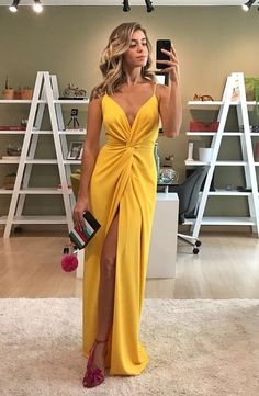 Chic Sheath V Neck Spaghetti Straps Backless Yellow Chiffon Long Prom Dresses with High Split,Evening Party Dresses The Dress, Dress For You, Dress Long, Evening Dresses, Formal Dresses, Party Dresses, Dresses Dresses, Prom Dresses Under 100, Beautiful Prom Dresses