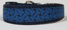 1Blue Bone print adjustable dog collar by WagSwagPetSupplies