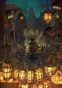 The amazing digital art - The amazing digital art of ポ~ン(出水ぽすか). Fantasy Landscape, Landscape Art, Arte Assassins Creed, Motif Art Deco, Environment Concept Art, Fantasy Inspiration, Environmental Art, Anime Scenery, Cute Art