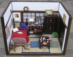 Miniature Japanese Style Room Box in 1/12 scale. Amazing detail!