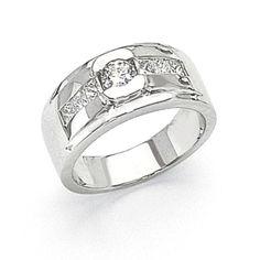 14k White Gold Diamond Men's Ring SKU: QGX9344AA $2610.99