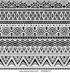 black and white tribal Navajo vector seamless pattern with doodle elements. aztec fancy abstract geometric art print. ethnic hipster background. Wallpaper, cloth design, fabric, textile. hand drawn