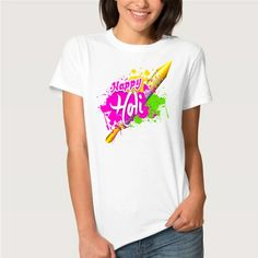 Half Sleeves, Types Of Sleeves, Festival T Shirts, Happy Holi, White Fabrics, Neck T Shirt, Print Patterns, Colorful, Prints