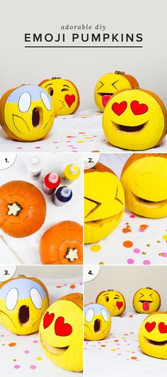 DIY your own emoji pumpkins this Halloween for an adorable (and easy) project. We're going for the heart eye smiley and the kissy face.