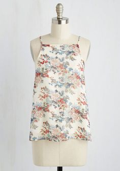 It's Light Alright Top - White, Multi, Floral, Print, Fairytale, A-line, Sleeveless, Spring, Woven, Good, Halter, Mid-length, Racerback