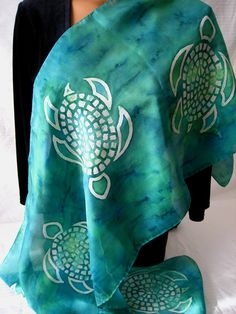 Silk Scarf With Green Turtles. Hand Painted Green by BlueSkySilks, $46.00