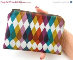 Spring SALE 40% OFF Napa Brown Stripes Little Zipper Pouch ECO Friendly Padded by JPATPURSES, $4.80