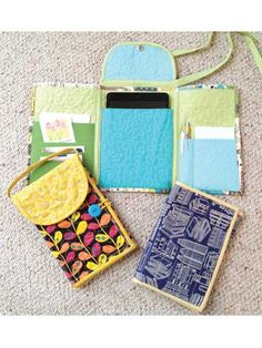 """Quilted Tri Fold Tablet Cases ~ Here's a handy case for carrying your mini iPad®, Nook™, Kindle™, Nexus™ or other 7"""" tablet. Quilting gives it padding, so you can protect your treasured tech device. Pockets on the side flaps give you room to store a stylus or pen, a small notepad, plus business cards or credit cards. Easy to make, with (3) different styles from which to choose."""
