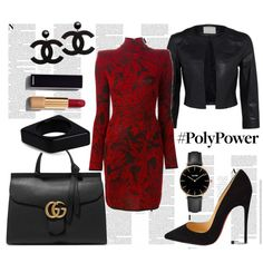 red power dress by kc-spangler on Polyvore featuring Balmain, Christian Louboutin, Gucci, Marni, CLUSE, Chanel, Whiteley, black, red and Leather