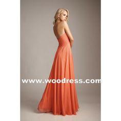 A-Line strapless Bodice V-neckline Orange Chiffon Bridesmaid Dresses Style 1221