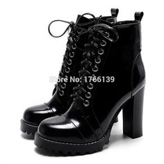 Mabaiwan Fashion British Women Ankle Boots Patent Leather Platform Short  Booties Chunky High Heels Lace Up Autumn Winter Boot