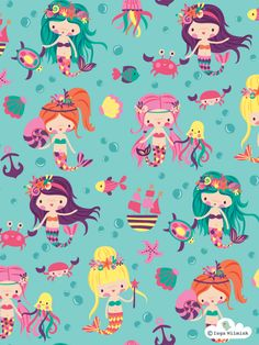 Mermaid Illustration - Nixie - Surface Pattern Design by Inga Wilmink Mermaid Wallpapers, Cute Wallpapers, Mermaid Illustration, Illustration Art, Cellphone Wallpaper, Iphone Wallpaper, Mermaids And Mermen, Design Graphique, Kids Prints