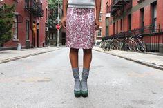 Grey slouch socks, heels