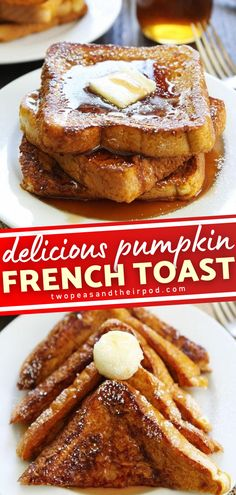 The perfect fall breakfast treat the whole family will love! Pumpkin French Toast is made with thick slices of bread dipped in a pumpkin spice mixture, cooked in butter, and drizzled with pure maple syrup. Save this quick and easy recipe! Fall Breakfast, Perfect Breakfast, Breakfast Ideas, Best Thanksgiving Recipes, Holiday Recipes, Delicious Breakfast Recipes, Yummy Food, Pumpkin French Toast, Pumpkin Recipes