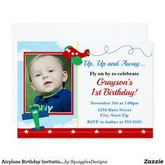 Airplane Birthday Invitation 1st Birthday Boy